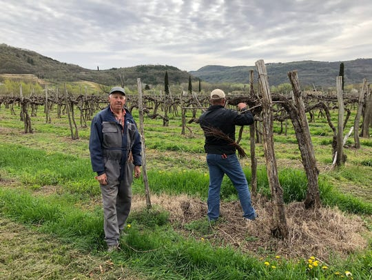 Emile Farran, left, and a fellow vineyard worker in