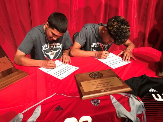 Marc Ledezma and Alex Ramirez signed to play college soccer with Northern Oklahoma College.