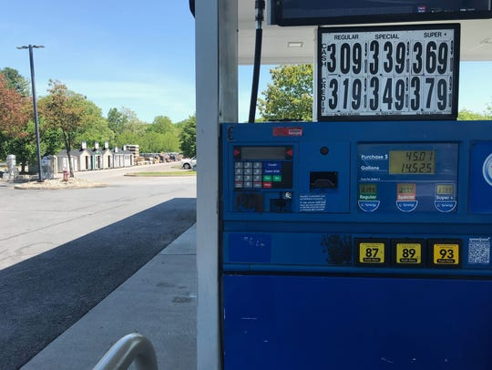 A sign at a Mobil pump on North Road in the town of