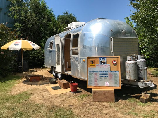 The 1963 Airstream Tradewind that Virgil and Grace Golden took on the Around the World caravan now sits on the Southeast Salem property of their son, Tom Golden. Tom plans to have it restored.
