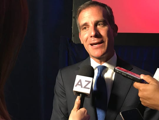 Los Angeles Mayor Eric Garcetti speaks after his keynote