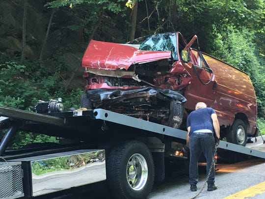 Two people were injured when a van and an SUV crashed