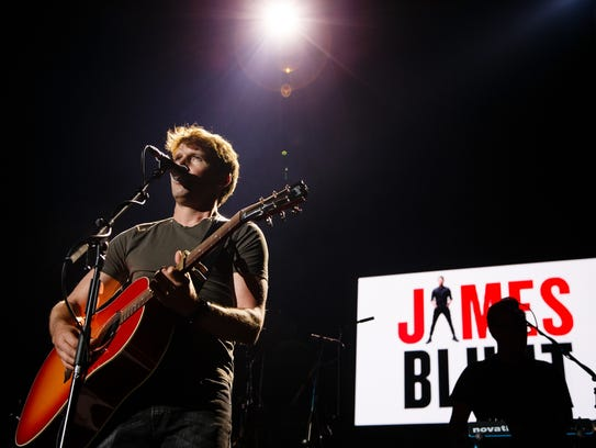James Blunt opens for Ed Sheeran during a show at Wells