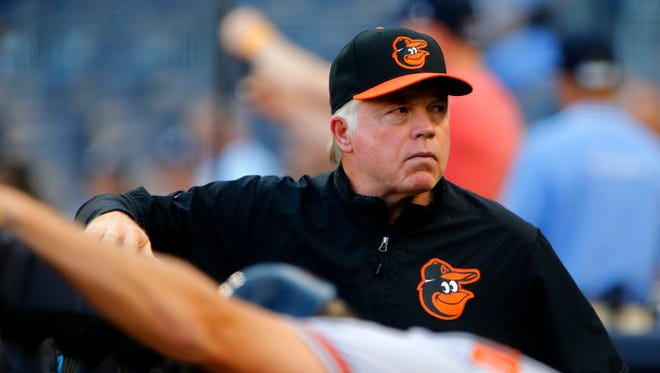 Orioles manager Buck Showalter looks on during a game against the Yankees at Yankee Stadium.