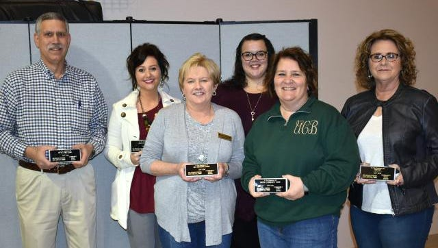 The United Way's Community Spirit Awards went to Fifth Third Bank-accepted by Paul Loxley; Union County First-Lindsay Jenkins; Old National Bank-Rita Mills; Kentucky Utilities-Erin French; United Community Bank-Tammy Belt; and Rayloc-Mary K Hutchison.  The presentations took  place March 23 in Morganfield  at the Grace Fellowship Church Annex.