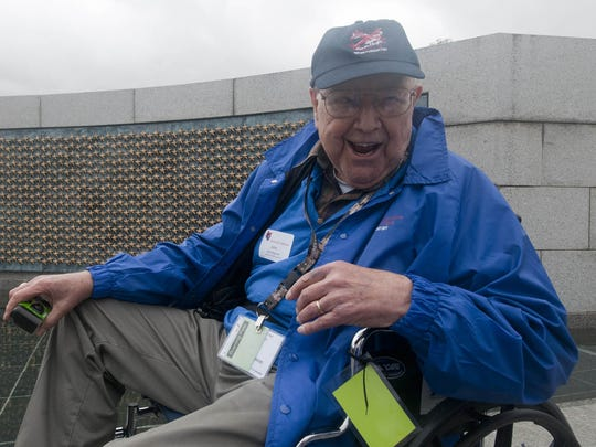 World War II veteran John Regnier, of Stevens Point, visits the World War II Memorial in Washington in 2010. Regnier was part of a group that traveled to Washington as a part of the Never Forgotten Honor Flight program.