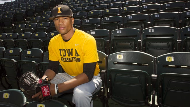 Iowa pitcher Blake Hickman poses for a photo at Duane Banks Field on Thursday, April 23, 2015. In four Big Ten starts, he's 4-0 with a 1.88 ERA.