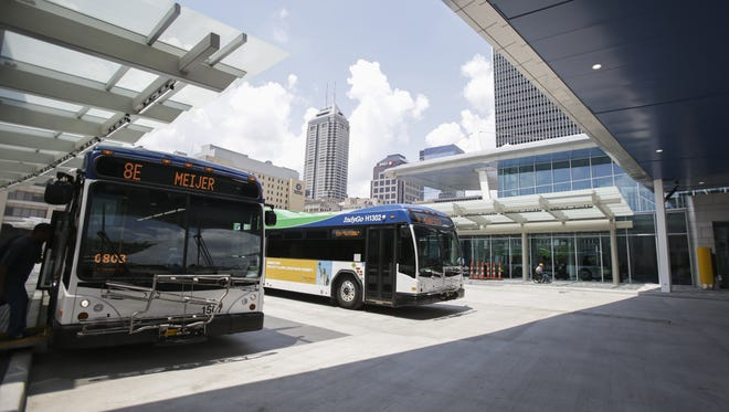Buses are ready to go at the Julia M. Carson Transit Center in Downtown Indianapolis on June 26, 2016.