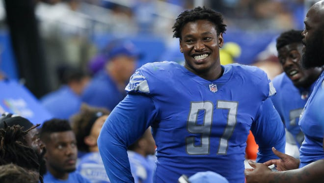 Lions defensive lineman Akeem Spence on the sidelines during the second quarter of the Lions' 16-6 exhibition win over the Jets on Saturday, Aug. 19, 2017, at Ford Field.