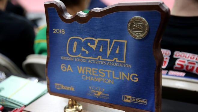 OSAA Wrestling State Championships at Veterans Memorial Coliseum in Portland on Saturday, Feb. 17, 2018.