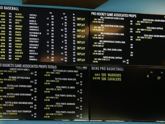Sports betting odds are listed on the screens in preparation for sports betting to start on Friday at the William Hill Race and Sports Bar at Monmouth Park in Oceanport, NJ Wednesday June 6, 2018.