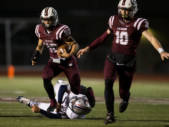 Calallen's Alec Brown breaks free from a defender during