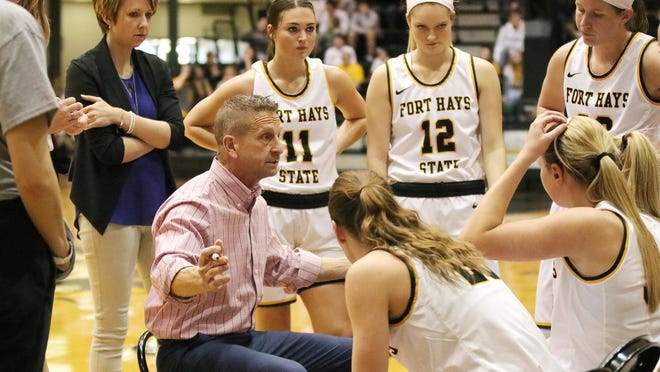 Fort Hays State University coach Tony Hobson talks to his team during a timeout in a game last season at Gross Memorial Coliseum in Hays. The Tiger women's scheduled season opener for Thursday has been postponed because of COVID-19 protocols.