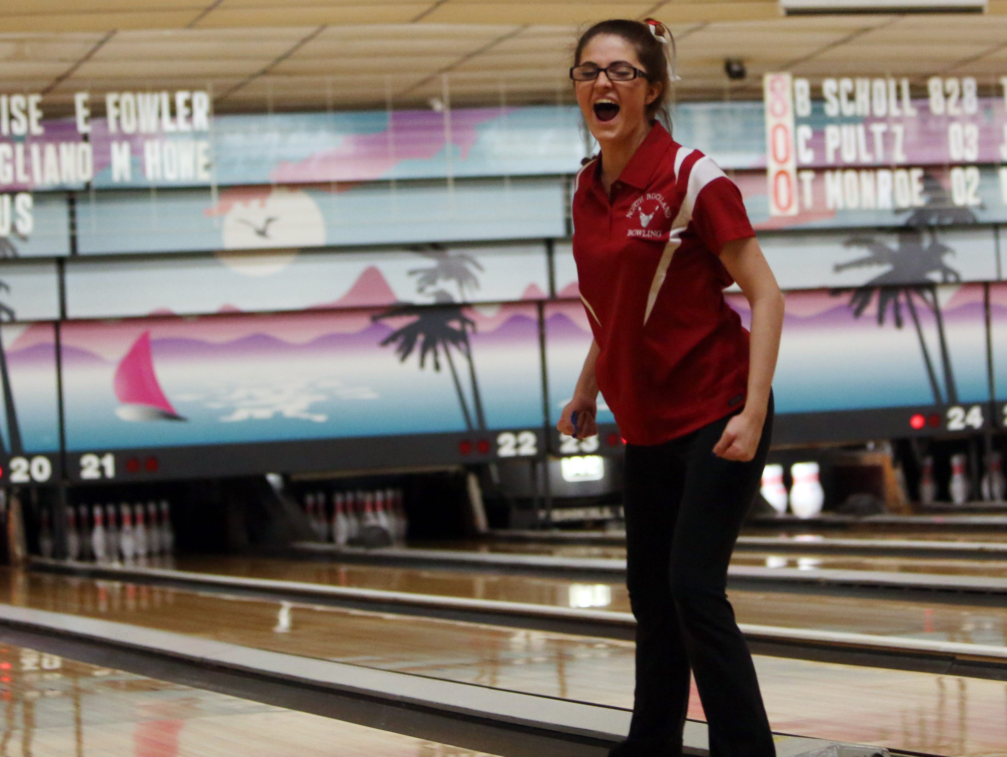 North Rockland's Deanna Jones reacts after a strike during the Section 1 girls bowling tournament at Fishkill Bowl Feb. 10, 2016. North Rockland went on to win the tournament.