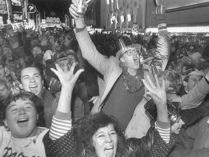 In 1988: Revelers in downtown Reno during the New Year's
