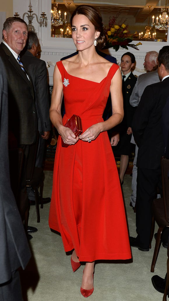Radiant in red.