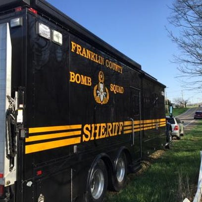 The Franklin County bomb squad was on the scene this