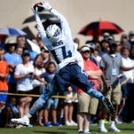 Titans wide receiver Hakeem Nicks (14) pulls in a catch during practice at Saint Thomas Sports Park on Saturday in Nashville.