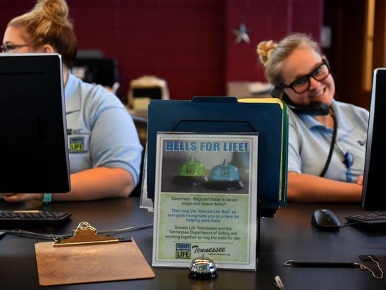 The Tennessee Department of Safety driver's license center on Region Lane encourages people who sign up as organ donors on their license to ring a bell and then get a cheer from there staff on hand in August.