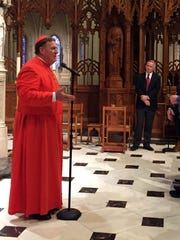 """On May 21, many """"In God's Image"""" members attended a """"mini-pilgrimage"""" to the Cathedral Basilica of the Sacred Heartin Newark where LGBTCatholics were welcomed by Cardinal John W.Tobin, the archbishop of Newark, andBishop Manuel Aurelio Cruz, auxiliary bishop of the Archdiocese of Newark and several other priests during a mass."""
