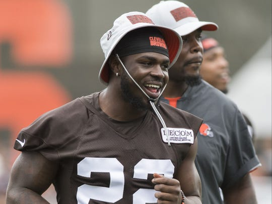 Jul 27, 2018; Berea, OH, USA; Cleveland Browns defensive back Jabrill Peppers (22) runs onto the field during training camp at the Cleveland Browns Training Complex. Mandatory Credit: Ken Blaze-USA TODAY Sports