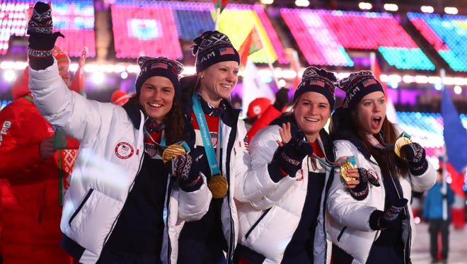 American athletes celebrated at Sunday's closing ceremony.