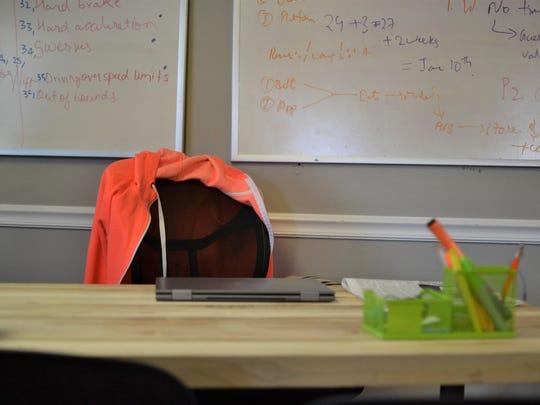 Nazanin Zinouri's desk at Modjoul sat empty Monday in the organization's office on Sloan Street in downtown Clemson.