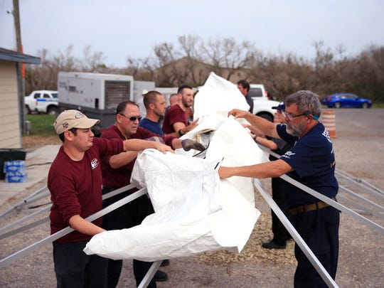 A tent is erected for the Texas A&M University Veterinary Emergency Team at Aransas County Animal Control in Fulton on Sunday, Sept. 3. That team and the Humane Society of the United States Animal Rescue Team are in Aransas County rescuing animals left by owners before and after Hurricane Harvey.