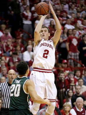 Indiana Hoosiers guard Nick Zeisloft (2) fires up a three-pointer in the second half of their game Saturday, March 7, 2015, afternoon at Assembly Hall in Bloomington IN. The Spartans defeated the Hoosiers 74-72.