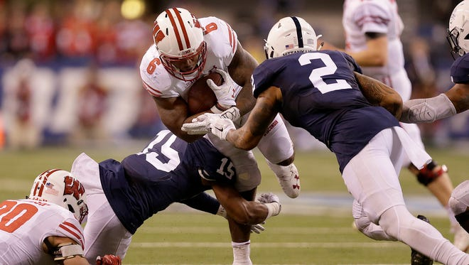 Badgers running back Corey Clement is stopped on fourth and 1 at the end of the game to clinch the Big Ten title for Penn State.