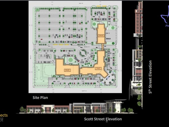 A site plan and elevation drawings of the city's proposed