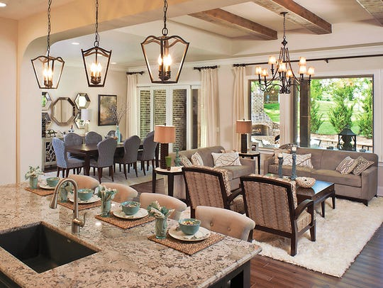 The Camden's open kitchen, dining and family room creates