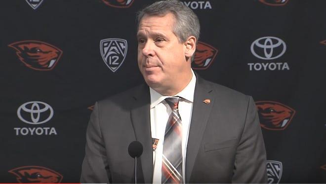 Scott Barnes speaks in a press conference Thursday in Corvallis.