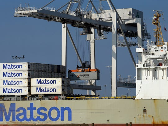 A container ship is unloaded at the Port of Oakland