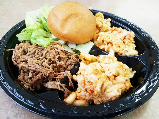 The brisket plate ($6) comes with a choice of a side