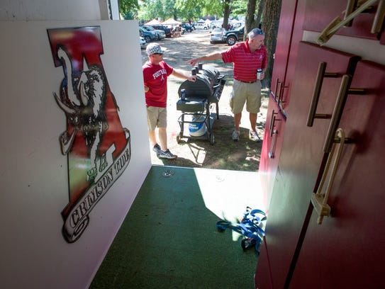The view from inside of Jeremy Kelley's tailgate trailer