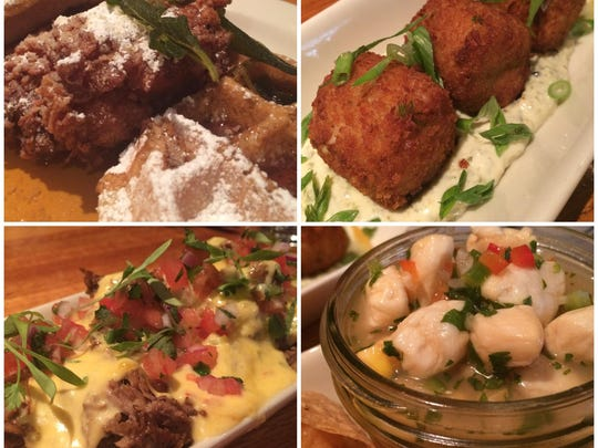 Chicken and waffles, blue-crab croquetas, bay scallop ceviche and loaded yucca fries from 7th Avenue Social in Naples.