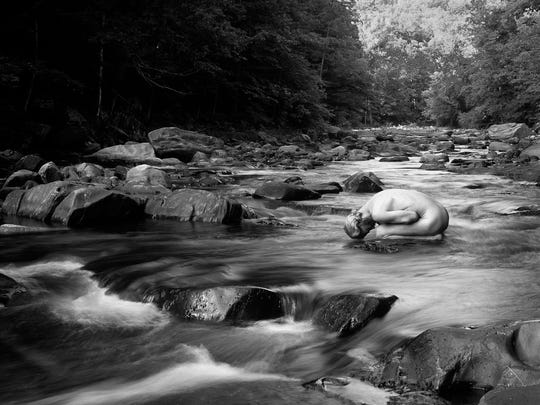 """""""Westfield River 2,"""" 2014, black-and-white photograph by Bruce G, Hooke, part of his """"Immersion Project."""""""