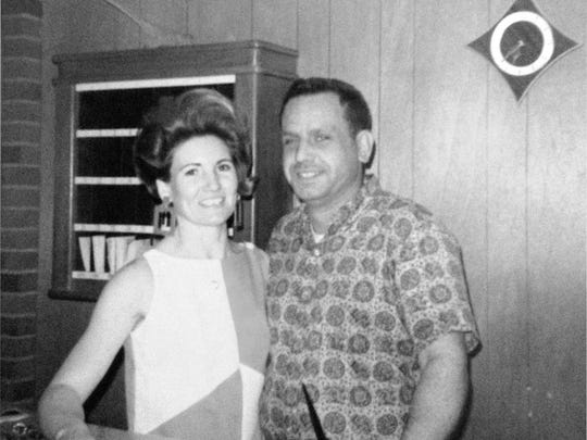 Rose and George Brous at the front desk in the early days of the Flamingo Motel.