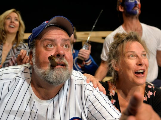 "Dan Barth (left) plays Zig, a die-hard Cubs fan in the Pioneer Place on Fifth production of ""Bleacher Bums."""