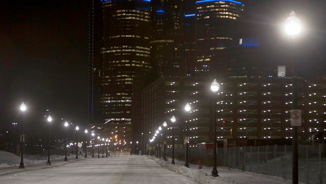 New lights line Atwater St. after the relighting ceremony on Thursday, Dec. 15, 2016 near downtown Detroit.