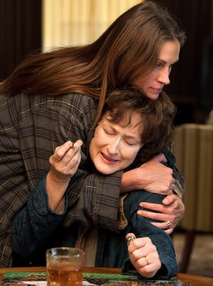 """Julia Roberts and Meryl Streep play daughter and mother in """"August: Osage County."""""""