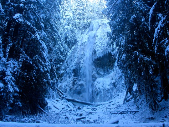 Lower Proxy Falls drops though the snow.