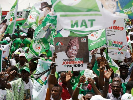 Supporters of Nigeria President Goodluck Jonathan attend