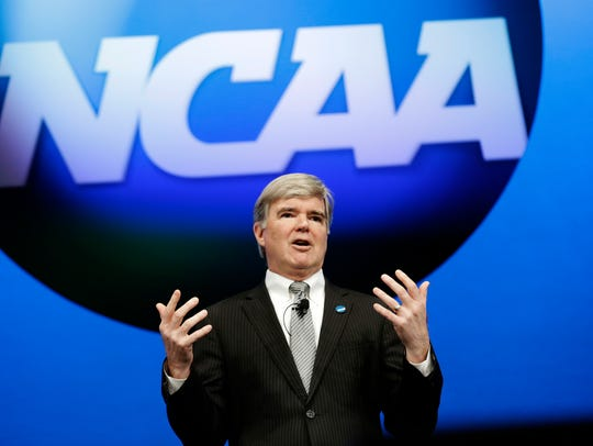 NCAA president Mark Emmert speaks in 2013.