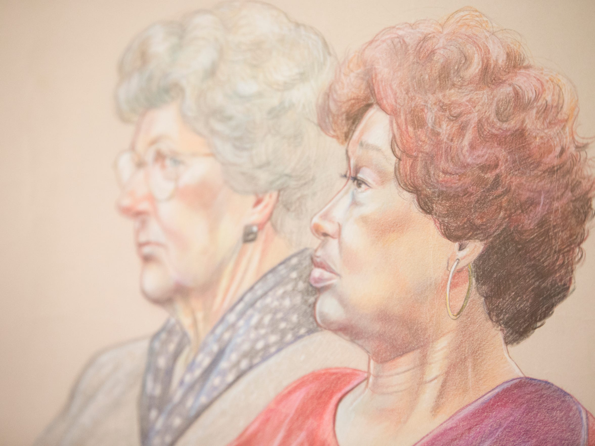 A courtroom sketch of Jannie Coverdale, who lost two grandsons in the Oklahoma City bombing.