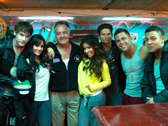 "Tony Sirico and the cast of ""Jersey Shore Shark Attack,"" except for Paul Sorvino."