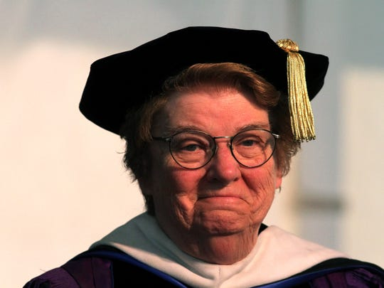 Former College of St. Elizabeth President Sister Francis Raftery during the 113th commencement ceremony. May 15, 2015. Morristown, N.J. Bob Karp/Staff Photographer.