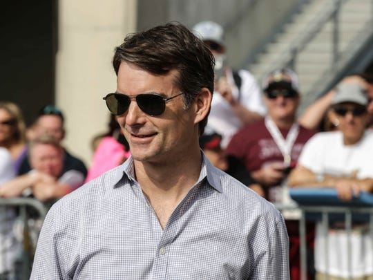 IndyCar Driver Jeff Gordon, who is this year's pace car driver, visits  the red carpet at the 99th running of the Indianapolis 500, Sunday May 24th, 2015.