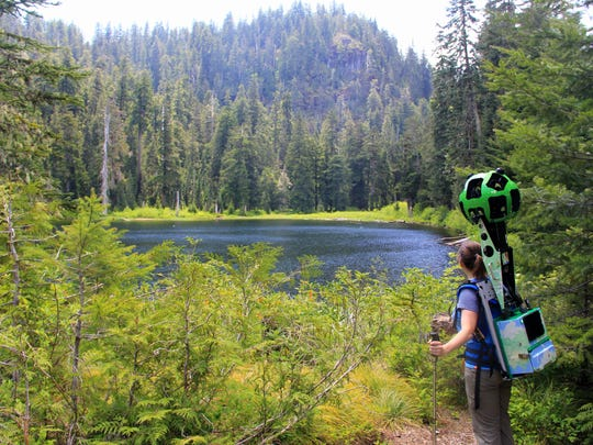 With the Google Trekker on her back ? taking multiple photos per second ? Chandra LeGue documents Crabtree Lake.